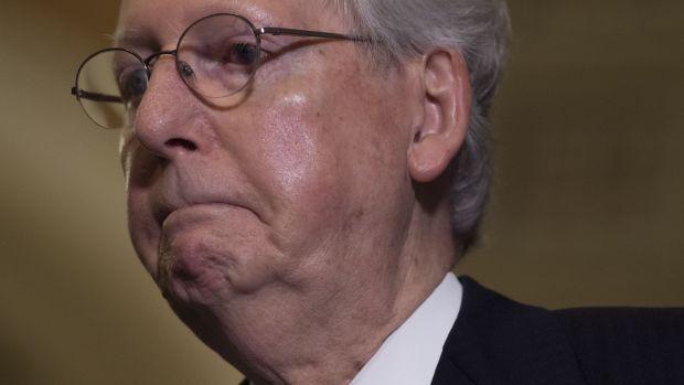 Senate Majority Leader Mitch McConnell speaks about the Senate Republican's health-care bill at the U.S. Capitol in Washington, D.C., on June 27th, 2017.