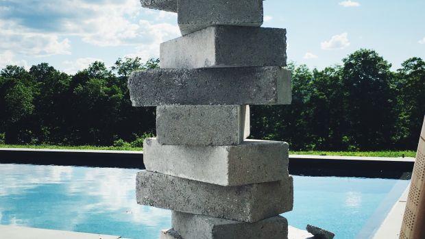 Stacked concrete blocks.