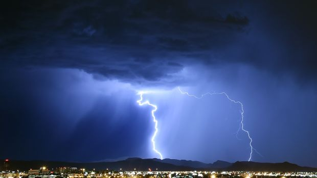 Lightning strikes during a thunderstorm in Las Vegas, Nevada.