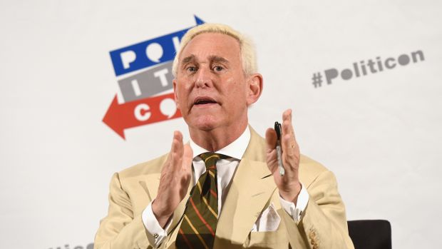 Roger Stone speaks during Politicon on July 29th, 2017, in Pasadena, California.