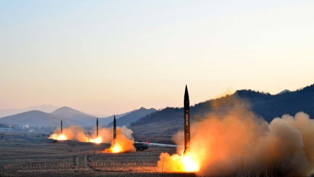 This undated picture released by North Korea's Korean Central News Agency on March 7th, 2017, shows the launch of four ballistic missiles by the Korean People's Army during a military drill at an undisclosed location in North Korea.