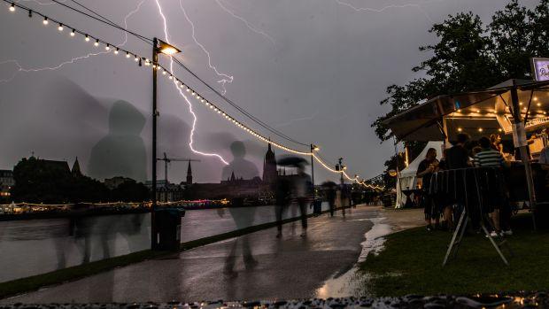 Lightning strikes in Frankfurt, Germany, on August 25th, 2017, during a summer rain storm.
