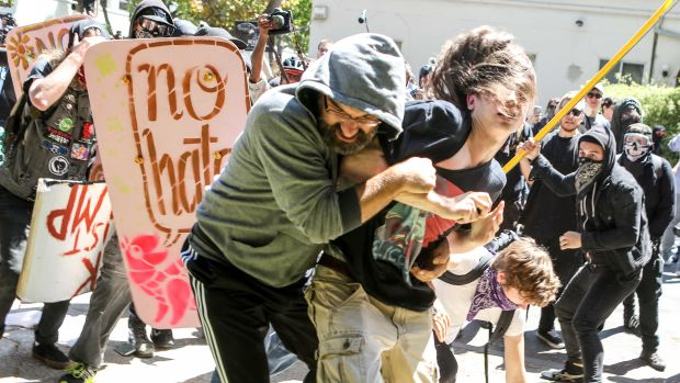 No-to-Marxism rally members and counter-protesters clash on August 27th, 2017, at Martin Luther King Jr. Civic Center Park in Berkeley, California.