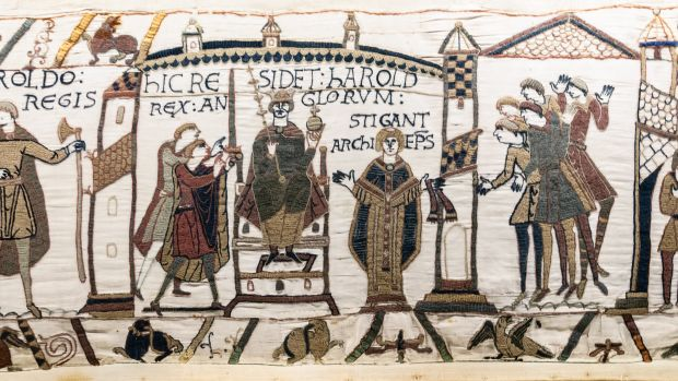 Detail from the Bayeux Tapestry, 11th century C.E.
