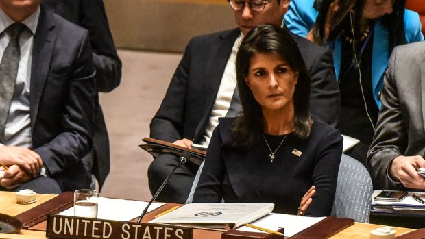 U.N. ambassador Nikki Haley listens to remarks during a Security Council meeting on North Korea on September 4th, 2017, in New York City.