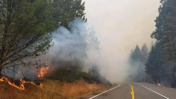The fire burns near Oregon 138, east of Glide in a closed section of the highway, on September 7th, 2017.