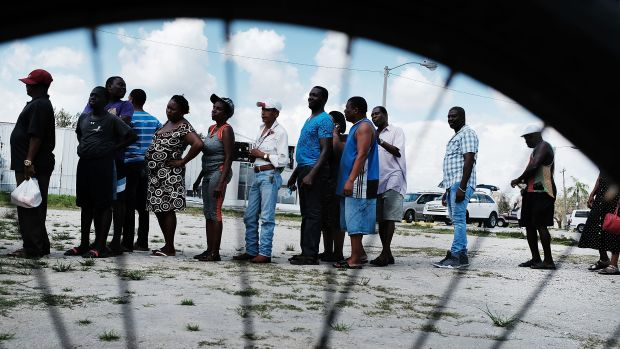 Residents of a rural migrant-worker town wait for emergency donations following Hurricane Irma in Immokalee, Florida, on September 14th, 2017.