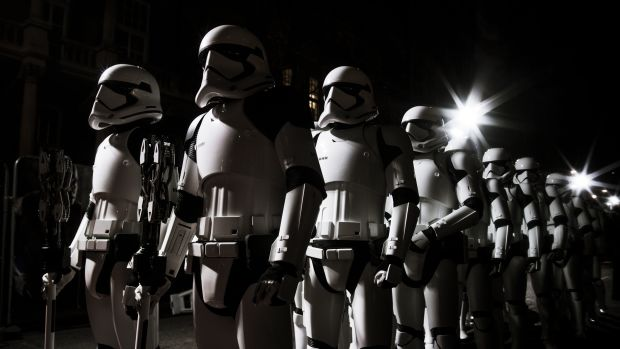 Stormtroopers march the red carpet at the European Premiere of Star Wars: The Last Jedi at the Royal Albert Hall on December 12th, 2017, in London, England.