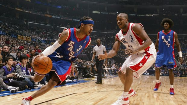 Allen Iverson #3 of the Eastern Conference All-Stars drives around Steve Francis #3 of the Western Conference All-Stars during the 2004 NBA All-Star Game on February 15th, 2004.