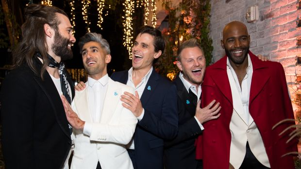 Jonathan Van Ness, Tan France, Antoni Porowski, Bobby Berk, and Karamo Brown attend the after party for the premiere of Netflix's Queer Eye on February 7th, 2018, in West Hollywood, California.