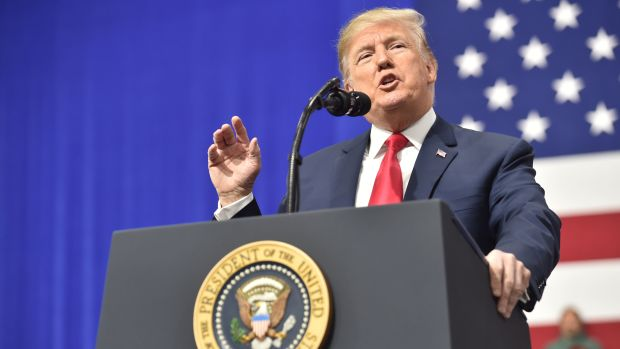 President Donald Trump delivers remarks at the Make America Great Again Rally on March 10th, 2018, in Moon Township, Pennsylvania.