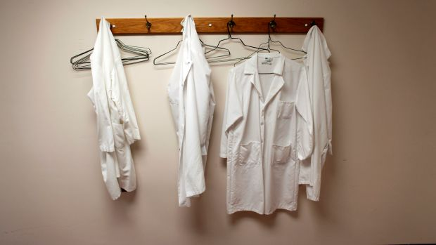 Lab coats hang on hooks at the Wisconsin National Primate Research Center at University Wisconsin-Madison in Madison, Wisconsin.