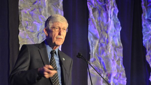 National Institutes of Health Director Francis Collins speaks at the National Rx Drug Abuse & Heroin Summit in Atlanta, Georgia, on April 4th, 2018.