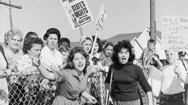 Women protest against integration outside William Franz Elementary School in Louisiana in 1960.