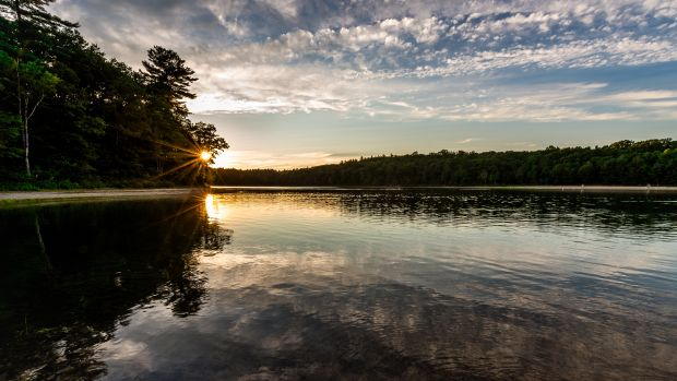 Walden Pond at sunset, July 29th, 2017.