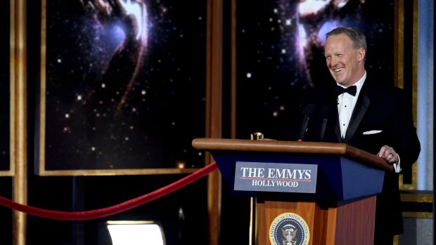 Former White House Press Secretary Sean Spicer speaks onstage during the 69th Annual Primetime Emmy Awards at Microsoft Theater on September 17th, 2017.