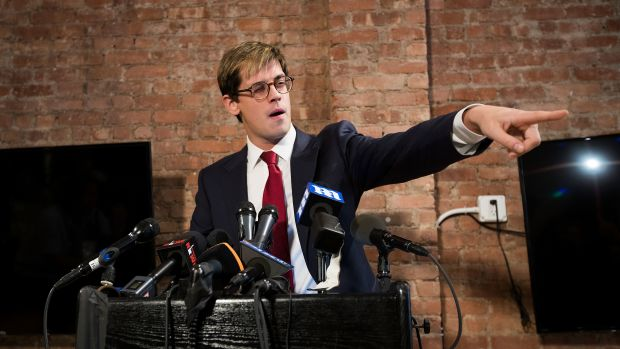 Milo Yiannopoulos announces his resignation from Brietbart News during a press conference on February 21st, 2017, in New York City.