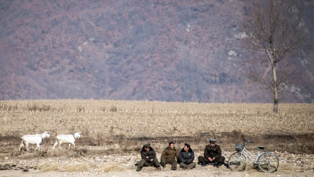 North Korean shepherds sit by the Yalu River banks near the town of Sinuiju across from the Chinese border town of Dandong.