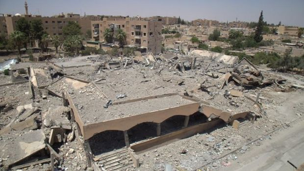 The ruins of a market and bakery in Tabqa, Syria, after an airstrike on March 22nd, 2017.