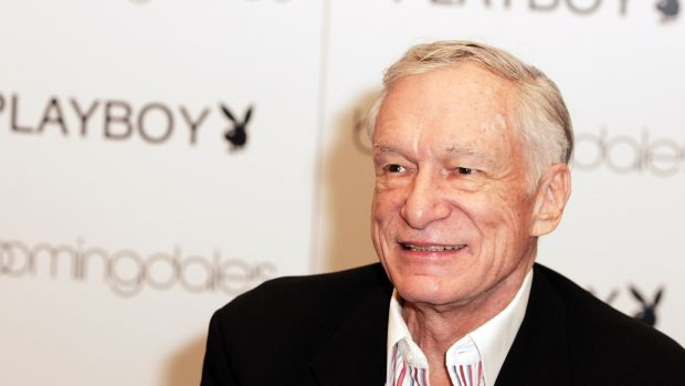 Hugh Hefner arrives at the launch of City Nights Playboy Menswear Collection at Bloomingdales on October 17th, 2007, in Century City, California.