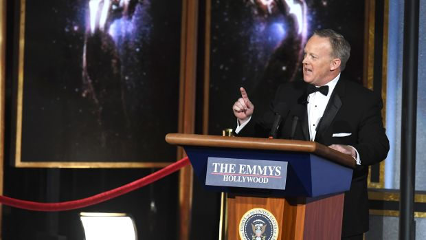 Former White House Press Secretary Sean Spicer speaks onstage during the 69th Annual Primetime Emmy Awards at Microsoft Theater on September 17th, 2017, in Los Angeles, California.