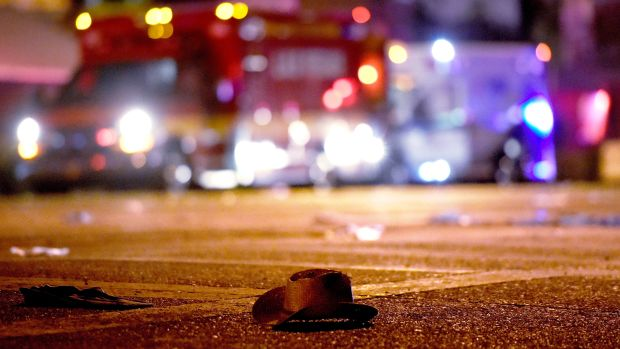 A cowboy hat lays in the street after shots were fired near a country music festival on October 1st, 2017, in Las Vegas, Nevada.