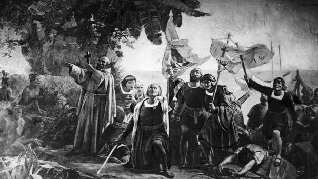 Christopher Columbus landing in America with the Piuzon Brothers bearing flags and crosses, 1492.