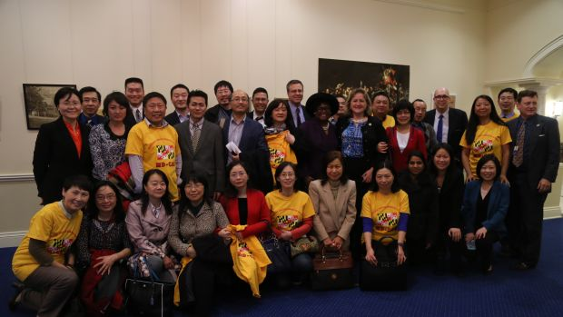 Members of the Maryland Chinese American Network pose with Republican state leadership after meeting to discuss both groups' opposition to sanctuary cities.