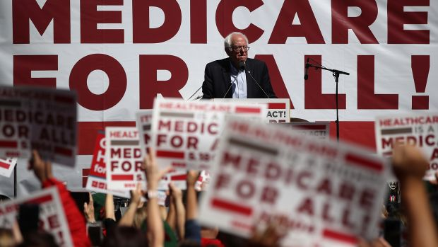 Senator Bernie Sanders speaks during a health-care rally at the 2017 Convention of the California Nurses Association on September 22nd, 2017, in San Francisco, California.