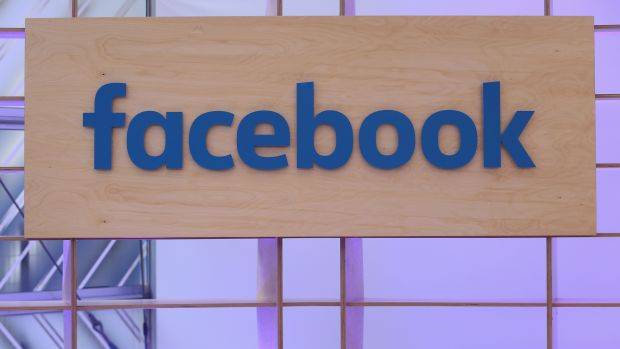 The Facebook logo is displayed at the Facebook Innovation Hub on February 24th, 2016, in Berlin, Germany.