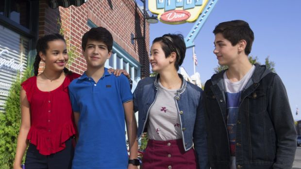 Cyrus (second to the left) will come out on upcoming episodes of Disney Channel's Andi Mack.