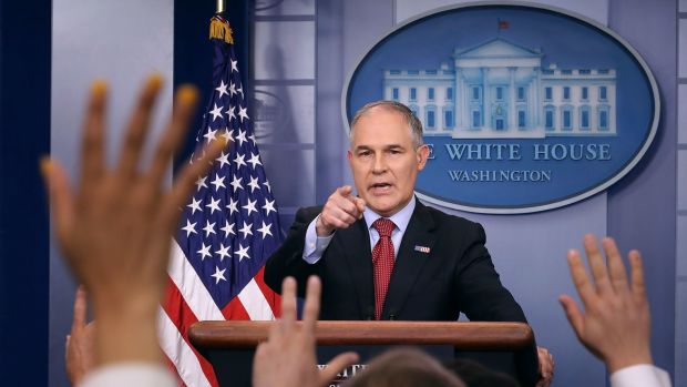 Environmental Protection Agency Administrator Scott Pruitt answers reporters' questions during a briefing at the White House on June 2nd, 2017, in Washington, D.C.