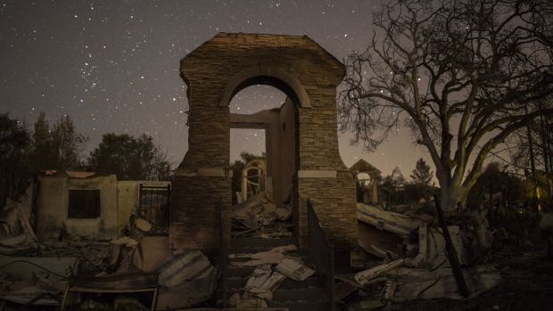 The ruins of houses destroyed by the Tubbs Fire are seen near Fountaingrove Parkway on October 14th, 2017, in Santa Rosa, California.