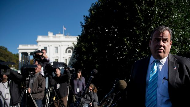 New Jersey Governor Chris Christie speaks to reporters outside the White House in Washington, D.C, on October 26th, 2017.