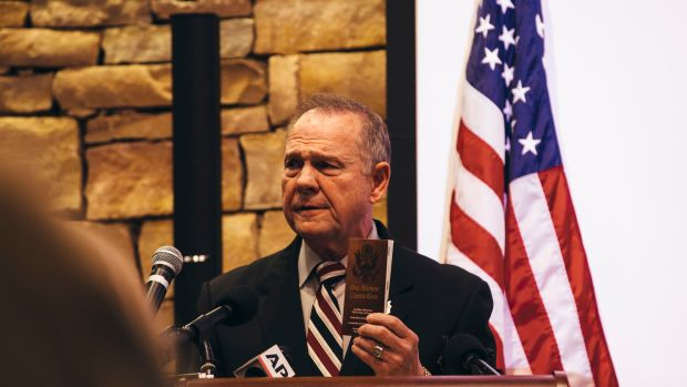 Roy Moore speaks on November 11th, 2017, in Vestavia Hills, Alabama.