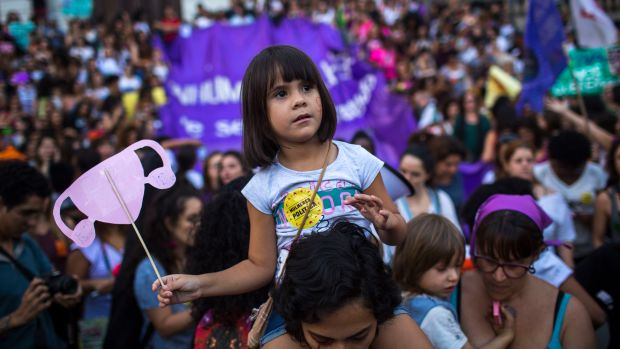 Thousands of Brazilians protest against a controversial bill that aims to cut the right to abortion in Rio de Janeiro, Brazil, on November 13th, 2017. The proposal would ban abortion even in the case of rape or a pregnancy that threatens a woman's life.