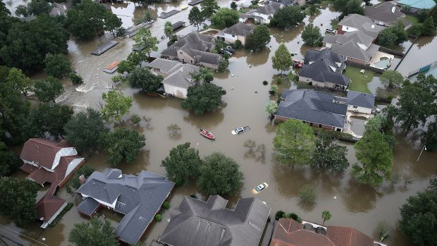 Flooded homes are shown near Lake Houston following Hurricane Harvey on August 30th, 2017, in Houston, Texas.