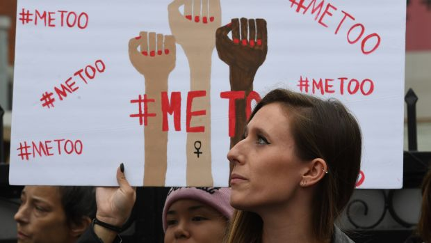 Marchers protest sexual harassment, assault, and abuse during a #MeToo demonstration in Hollywood, California, on November 12th, 2017.