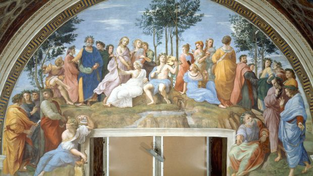 Raphael's Parnassus depicts famous poets reciting alongside the nine Muses atop Mount Parnassus.