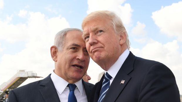 Israeli Prime Minister Benjamin Netanyahu speaks with President Donald Trump on May 23rd, 2017, in Jerusalem, Israel.