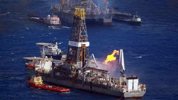 The Discoverer Enterprise drilling rig.