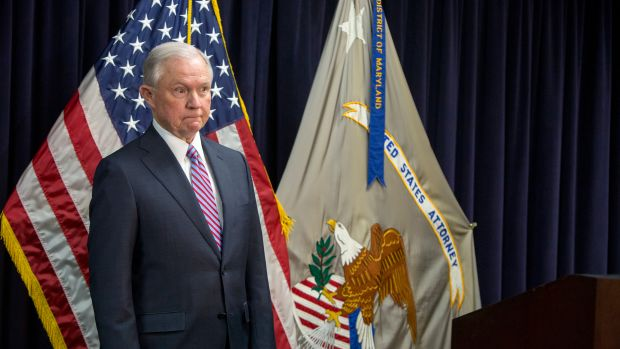 Attorney General Jeff Sessions attends a news conference on immigration on December 12th, 2017, in Baltimore, Maryland.
