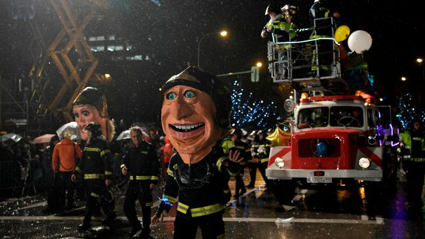 Firefighters take part in the traditional Three Kings parade (Cabalgata de los Reyes Magos) marking Epiphany in Madrid on January 5th, 2018