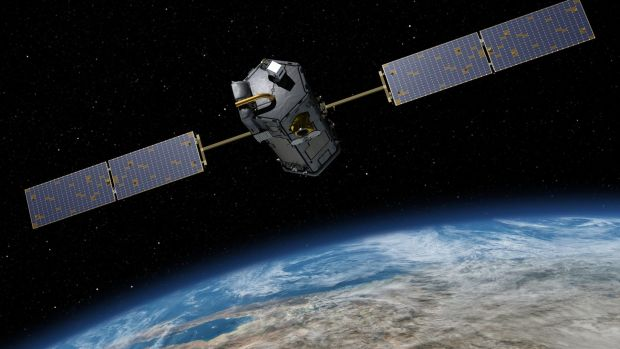 A NASA satellite orbits Earth.