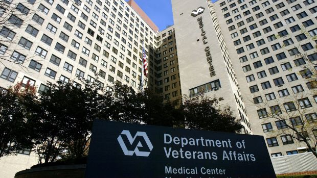 The exterior of the VA Hospital in New York City.