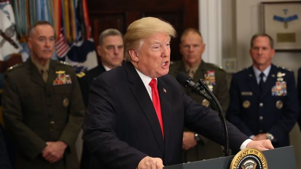 President Donald Trump speaks before signing the National Defense Authorization Act, on December 12th, 2017, in Washington, D.C.