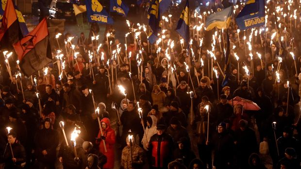 A mass march takes place in Kiev, Ukraine, on January 29th, 2018, to mark the 100th anniversary of a battle near the the small Ukrainian city of Kruty. On January 29th, 1918, Soviet Russia sought to absorb the then-Ukrainian state, sparking a clash between several hundred Ukrainian People's Republic's troops and several thousand soldiers of the Red Guard.
