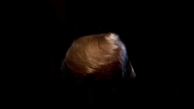 President Donald Trump's hair shines as he speaks during a cabinet meeting at the White House in Washington, D.C., on January 10th, 2018.