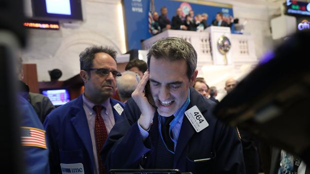 Traders work on the floor of the New York Stock Exchange on February 5th, 2018, in New York City.