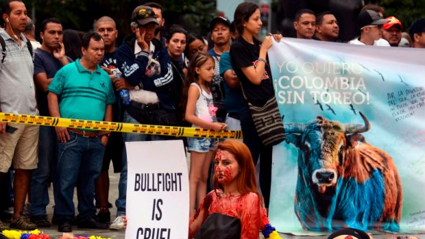 Activists protest against bullfighting at Botero Square in Medellín, Colombia, on February 11th, 2018.
